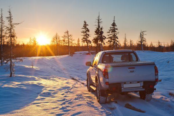 Pickup truck in snow