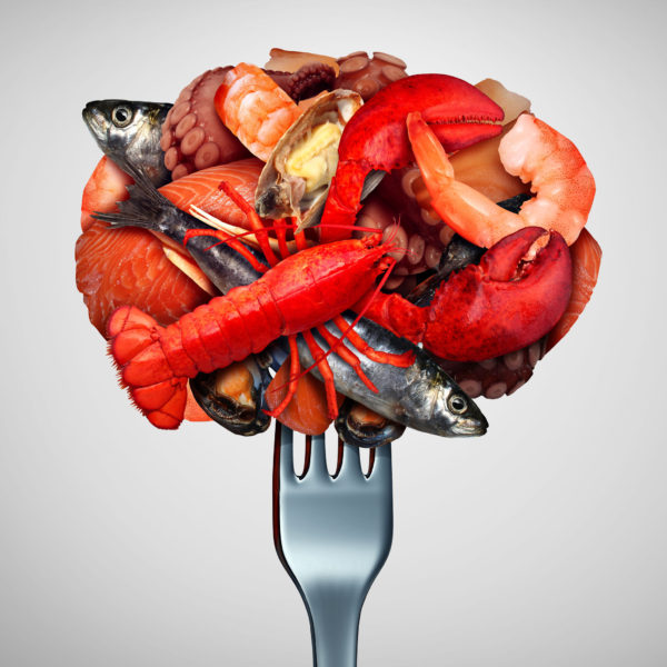 assorted seafood on a fork