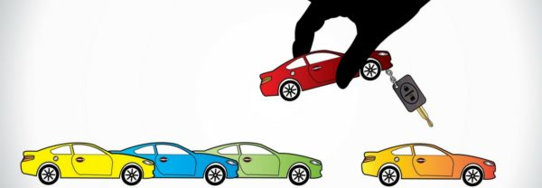 Graphic of a hand picking up a car out of a lineup featured in a blog about used vehicles